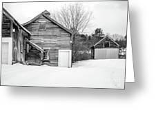Old New England Barns In Winter Greeting Card