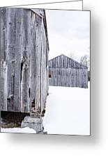 Old New England Barns Winter Greeting Card
