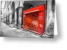 Old Newsstand Closed In Bologna Canvas - Technique Of Selective Color -  Black And White Only Red Greeting Card