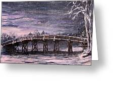 Old North Bridge In Winter Greeting Card