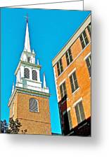Old North Church Tower In  Boston-massachusetts Greeting Card