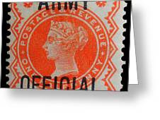Old Orange Halfpenny Stamp  Greeting Card