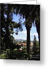 Old Palm Trees And Downtown Los Angeles Greeting Card