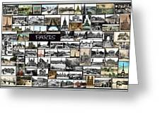 Old Paris Collage Greeting Card by Janos Kovac