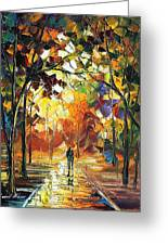 Old Park 3 - Palette Knife Oil Painting On Canvas By Leonid Afremov Greeting Card