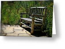 Old Park Bench Greeting Card