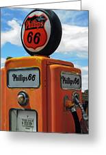 Old Phillips 66 Gas Pump Greeting Card