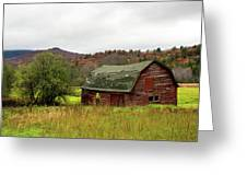 Old Red Adirondack Barn Greeting Card by Nancy De Flon