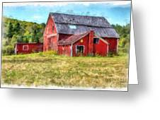 Old Red Barn Abandoned Farm Vermont Greeting Card