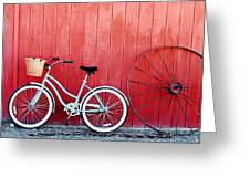 Old Red Barn And Bicycle Greeting Card