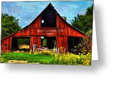 Old Red Barn And Wild Sunflowers Greeting Card