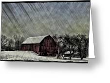 Old Red Barn In Winter Greeting Card