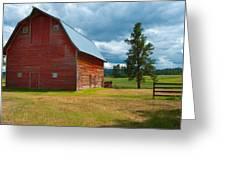Old Red Big Sky Barn Greeting Card by Sandra Bronstein
