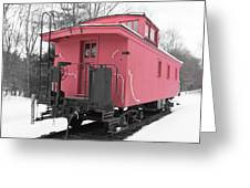 Old Red Caboose Square Greeting Card