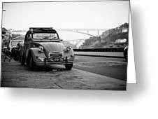 Old Retro Car Citroen On The Street Greeting Card