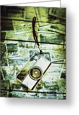 Old Retro Film Camera In Creative Composition Greeting Card