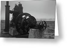 Old Rice Field Pump Bw Greeting Card