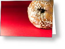 Old Rotting Apple With Fruit-rot On Red Background Greeting Card
