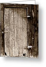Old Rustic Black And White Barn Woord Door Greeting Card