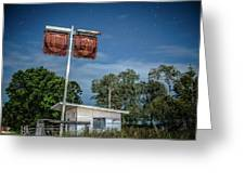 Old Rustic Fuel Station Sign In The Countryside Greeting Card