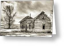 Old Rustic Log House In The Snow Greeting Card