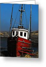 Old Rustic Red Fishing Boat Greeting Card