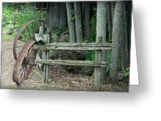 Old Rusty Wagon Wheels And Weathered Fence Greeting Card