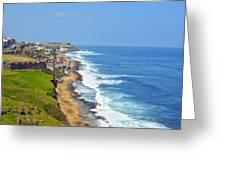 Old San Juan Coastline 3 Greeting Card
