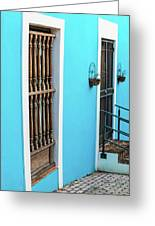 Old San Juan House In Historic Street In Puerto Rico Greeting Card