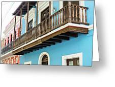 Old San Juan Houses In Historic Street In Puerto Rico Greeting Card