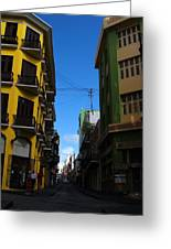 Old San Juan Puerto Rico Downtown On The Corner Greeting Card