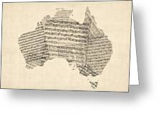 Old Sheet Music Map Of Australia Map Greeting Card