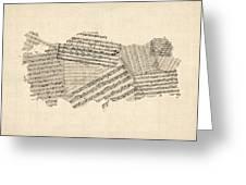 Old Sheet Music Map Of Turkey Map Greeting Card