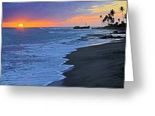 Old Shipwreck At Sunset - St Lucia Greeting Card