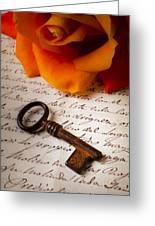 Old Skeleton Key On Letter Greeting Card