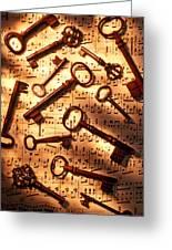 Old Skeleton Keys On Sheet Music Greeting Card by Garry Gay