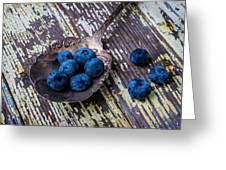 Old Spoon And Blueberries Greeting Card