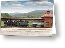 Old Steam Locomotive On Railway Station Greeting Card