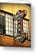 Old Steel Neon Sign Greeting Card