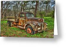 Old Still Art 1947 Ford Stakebed Pickup Truck Ar Greeting Card