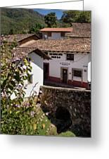 Old Stone Bridge In Historic Hillside Village Of San Sebastian D Greeting Card