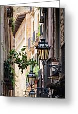 Old Street Light In Barcelona, Spain Greeting Card