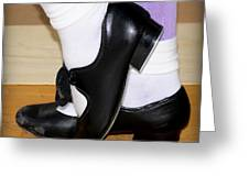 Old Tap Dance Shoes With White Socks And Wooden Floor Greeting Card