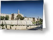 Old Town Citadel Walls Of Jerusalem Israel Greeting Card