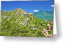Old Town Knin On The Rock View Greeting Card