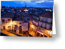 Old Town Of Porto In Portugal At Dusk Greeting Card
