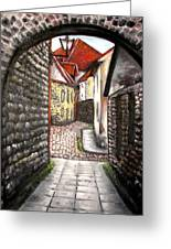 Old Town Oil Paining Greeting Card