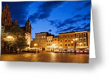 Old Town Square By Night In Torun Greeting Card