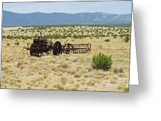 Old Tractor And Rake In New Mexico Greeting Card