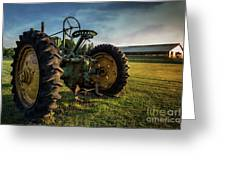 Old Tractor In The Field Outside Of Keene Nh Greeting Card by Edward Fielding